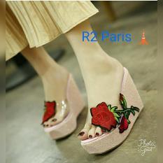 Sandal Wedges Wanita Bunga Rose Hak 12Cm Pink Azni R2 Asli