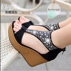 Sandal Wedges Wanita Hitam Permata