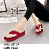 Spesifikasi Sandal Wedges Wanita Jepit Merah Sdw88 Ukuran 40 Dan Harga