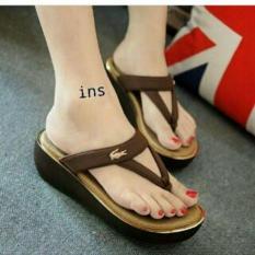 Sandal Wedges Wanita Murah Model Terbaru NN01 Coklat