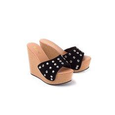 Jual Beli Online Sandal Wedges Wanita Sendal Cewek Warna Coklat Hitam Lol 486