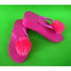 Diskon Sandal Wedges Wanita Spon Pompom Pink Fusia Branded
