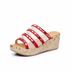 Sandal Sandal Lady Wedges Korea Tinggi Kualitas Musim Panas Wanita Platform Slides (Merah)-Intl