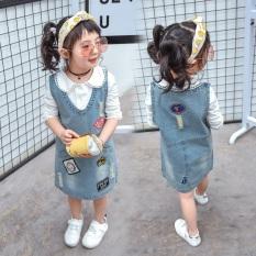 Sanfain Girl Korea Fashion Style baru Baobao denim rok gadis berpakaian (Gambar warna)