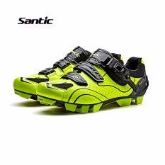 Santic Pria MTB Sepatu Bersepeda Auto-lock Sepeda Sepatu Sepeda Gunung untuk Shimano SPD Eggbeater System Sepatu 3 Warna, Hitam Hijau-Intl