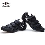 Jual Santic Sepatu Bersepeda Jalan Carbon Fiber Sole Men Road Bike Sepatu Self Locking Athletics Sepeda Sepatu Scarpe Ciclismo Hitam Intl Murah