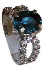 Santri Gemstone Cincin Pria -  London Blue Topas Ring Perak 925