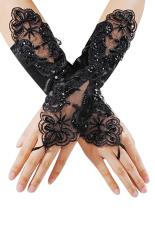 Sanwood® Pengantin Gaun Pernikahan Satin Renda Sarung Tangan Tanpa Jari Pearl Hitam