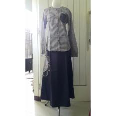SARIMBIT BARU! Baju Muslim Dannis Dewasa Setelan Rok Black&White 2 - Hitam Garis Garis