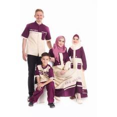 Sarimbit Keluarga 29 Nibras Baju Muslim Family Bhan Cigaret Marun-Krem - Jzdpop