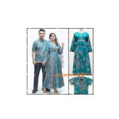 Sarimbit Pasangan Keluarga Gamis Long Dress Batik 1089 Tosca BIG SIZE