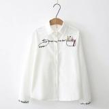 Jual Cepat Longgar Korea Fashion Style Kain Korduroi Perempuan Lengan Panjang Bordir Kemeja Kemeja Putih Putih