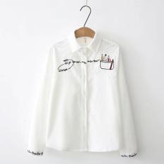 Harga Longgar Korea Fashion Style Kain Korduroi Perempuan Lengan Panjang Bordir Kemeja Kemeja Putih Putih Origin