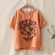 Diskon Produk Sastra Bordir Perempuan Lengan Pendek Leher Bulat T Shirt Bottoming T Shirt Oranye