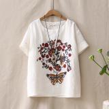 Spesifikasi Sastra Bordir Perempuan Lengan Pendek Leher Bulat T Shirt Bottoming T Shirt Putih Terbaik