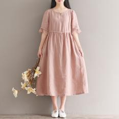 Seni Dan Kain Linen Lengan Pendek Musim Panas Yang Asli Gaun (Merah Muda Tua) baju wanita dress wanita Gaun wanita