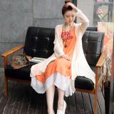 Jual Beli Gaun Terusan Wanita Model Sedang Linen Motif Cetak Gaya Nasional Satu Set Dua Helai Oranye Rok Beige Jaket Baru Tiongkok