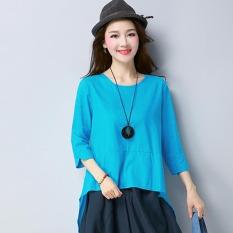 Spesifikasi T Shirt Kemeja Sastra Kain Linen Musim Panas Atasan Liar Biru Baju Wanita Baju Atasan Kemeja Wanita Oem