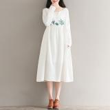 Jual Sastra Katun Yang Longgar Bordir Bunga Gaun Putih Baju Wanita Dress Wanita Gaun Wanita Oem