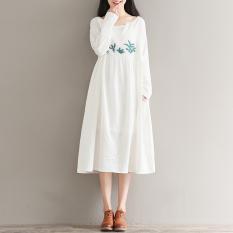 Jual Sastra Katun Yang Longgar Bordir Bunga Gaun Putih Baju Wanita Dress Wanita Gaun Wanita Murah