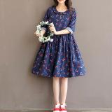 Gaun Sastra Kain Linen Rok Dalaman Kecil Bening Longgar Biru Tua Lengan Panjang Tiongkok Diskon