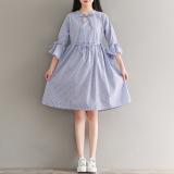 Katalog Gaun Wanita Hemline Besar Garis Garis Bertali Bahan Katun Elegan Biru Bar Baju Wanita Dress Wanita Gaun Wanita Oem Terbaru