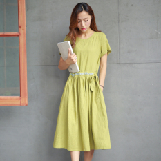Harga Sastra Linen Tipis Ukuran Besar Gaun Gaun Cendekia Hijau Yg Bagus