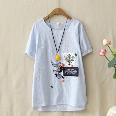 Harga Atasan Sastra Kain Linen Longgar Setengah Panjang Model Biru Muda Baju Wanita Baju Atasan Kemeja Wanita Oem