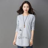 Harga Sastra Musim Semi Dan Musim Gugur Baru Ukuran Besar Kemeja T Shirt Abu Abu Baju Wanita Baju Atasan Kemeja Wanita