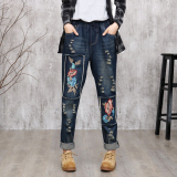 Jual Beli Retro Patch Yang Longgar Tipis Denim Celana Panjang Biru Tua Biru Tua Baju Wanita Celana Wanita Celana Jeans Wanita Baru Tiongkok