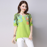 Spesifikasi Sastra Sepatu Linen Warna Solid Cetak T Shirt Hijau Baju Wanita Baju Atasan Kemeja Wanita Terbaru