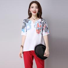Sastra Sepatu Linen Warna Solid Cetak T-shirt (Putih) baju wanita baju atasan kemeja wanita
