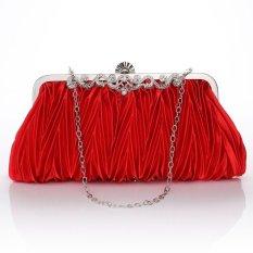 Review Tas Pesta Satin Kristal Kopling Lembut Pernikahan Evening Bag Merah