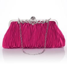 Beli Satin Crystal Clutch Party Wedding Purse Soft Evening Bag Rose Red Online Indonesia