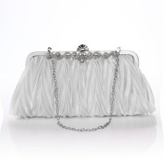 Jual Beli Satin Crystal Clutch Pesta Pernikahan Dompet Soft Evening Tas Putih Di Indonesia
