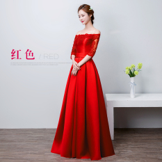 Rp 530.200 2019 model baru satin gaun pesta RESTONIC model bahu terbuka  pengantin wanita Baju ... afa5c5c8ae