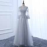 Miliki Segera Gaun Panjang Lengan Panjang Wanita Abu Abu Warna Abu Perak Model Panjang Warna Abu Perak Model Panjang