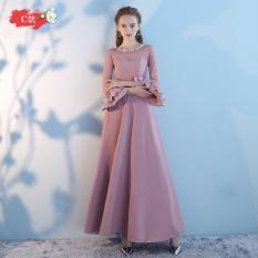 Saudara Korea Fashion Style Musim Semi Pink Baru Pengiring Pengantin Gaun Busana Pendamping Pengantin Kacang Benang Warna Ayat C Diskon Akhir Tahun