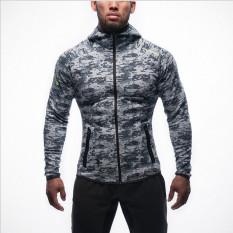Harga Jirouxiongdi Musim Dingin Baru Pria Kebugaran Pakaian Workout Kaos Sweater Kamuflase Abu Abu Yang Bagus
