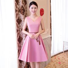 Qianyuangang Gaun Pengapit Wanita Bang Pendek Modis Pas Badan Banyak Model Sebuah Model Merah Muda 522) baju Wanita Gaun Wanita Gaun Wanita