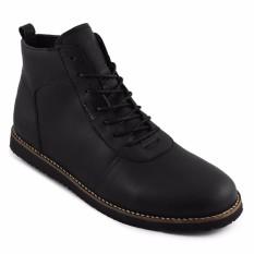 Sauqi Brodo Sepatu Boots Pria - Kulit Asli Black