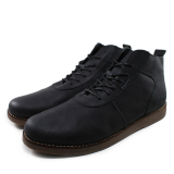 Diskon Sauqi Footwear Men S Leather Shoes Male Mid Ankle Boots Black Vintege Akhir Tahun