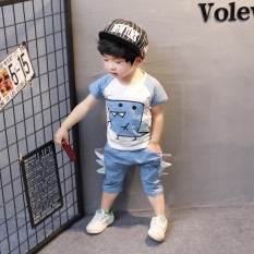 Anak laki-laki pakaian musim panas lengan pendek celana pendek Set anak-anak musim