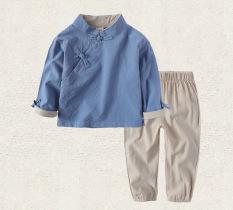 Sayang Angin Nasional Kain Linen Anak Laki-laki Model Musim Semi atau Musim Gugur Pakaian Adat Tiongkok (Ringan biru)