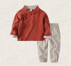 Sayang Angin Nasional Kain Linen Anak Laki-laki Model Musim Semi atau Musim Gugur Pakaian Adat Tiongkok (Merah)