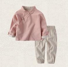 Sayang Angin Nasional Kain Linen Anak Laki-laki Model Musim Semi atau Musim Gugur Pakaian Adat Tiongkok (Merah muda)