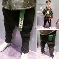 Sayang Baru Anak Laki-laki Korea Modis Gaya Celana Pensil Tambah Beludru Jeans (Hitam)