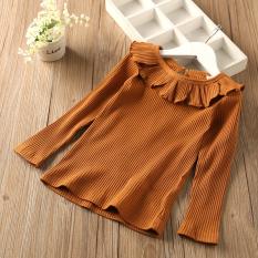 Sayang Kasual Warna Solid Anak-anak Atasan Baju Dalaman (Kuning)