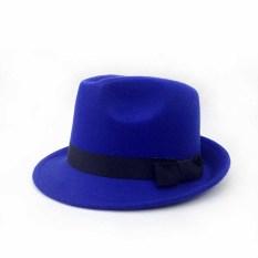 Sayang Korea Modis Gaya Wol Pria atau Wanita Anak Topi Jazz Topi Kecil (Topi Sekitar Ada Lingkar Kepala Gelang karet + Biru Tua)