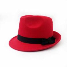 Sayang Korea Fashion Style Wol Pria Dan Wanita Anak Topi Jazz Topi Kecil (Topi Sekitar Ada Lingkar Kepala Gelang Karet + Merah)